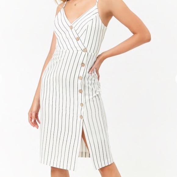 221210c1f9 Striped Asymmetrical Button-Front Cami Dress